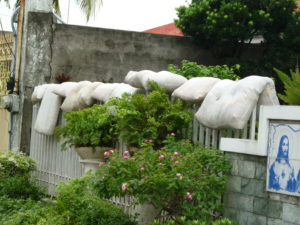A neighbor's wall with cushions drying--Photo by Harriet Sewell